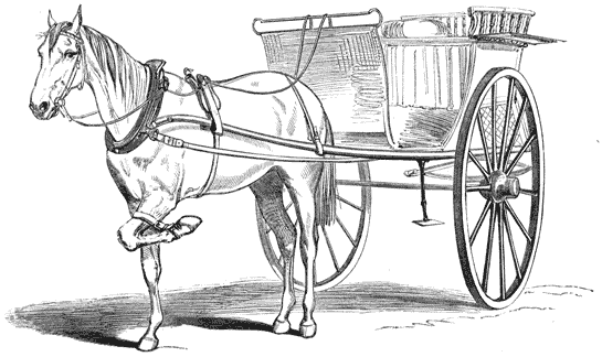 Drawing of a horse bridled to a simple cart.