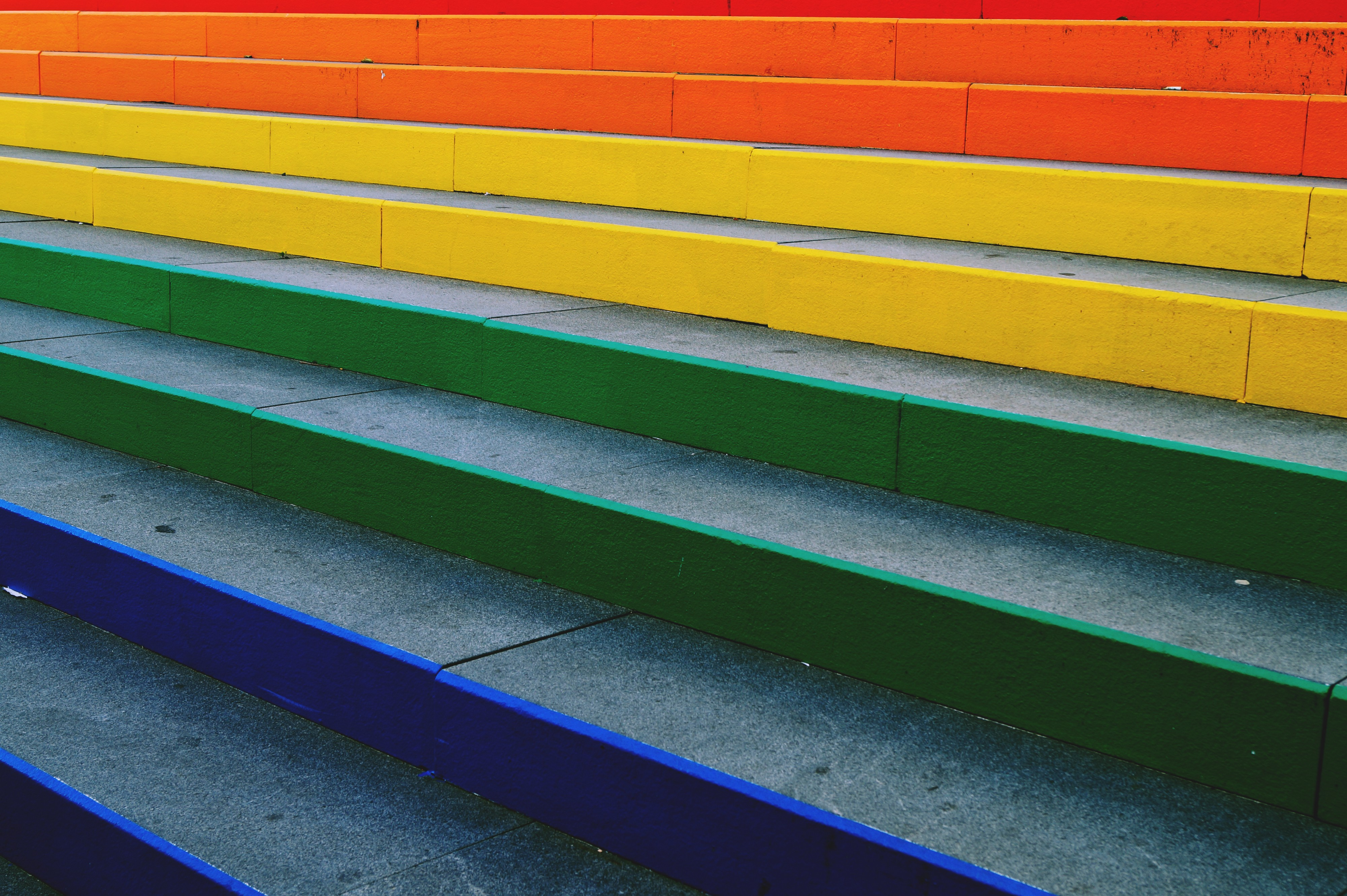 Concrete Stairs with Rainbow Colors Painted on them