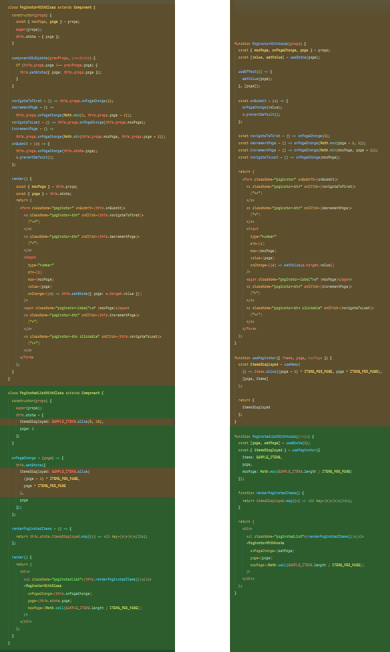 A color-coded diagram of how the sample code is organized, with the composition API having much better organization