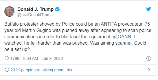 "Trump: ""Buffalo protester shoved by Police could be an ANTIFA provocateur.."""