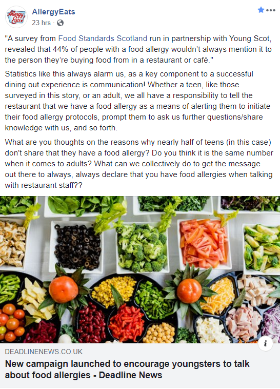 A social media post from AllergyEats that preaches at people to always tell restaurant servers.