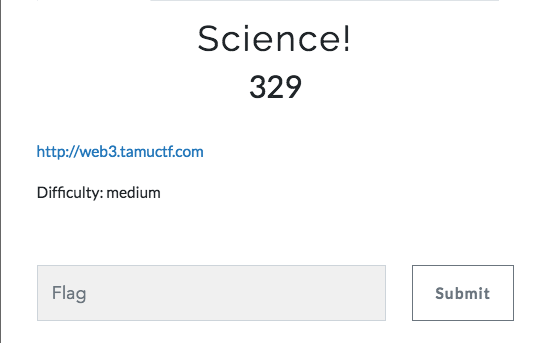 TAMU CTF 2019 web writeups (Science!) - Anas Boulbali - Medium