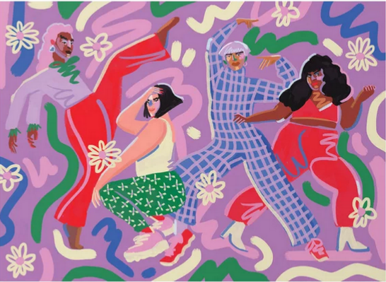 A colorful illustration in cool hues of people dancing and posing, by Brazilian artist Niege Borges.