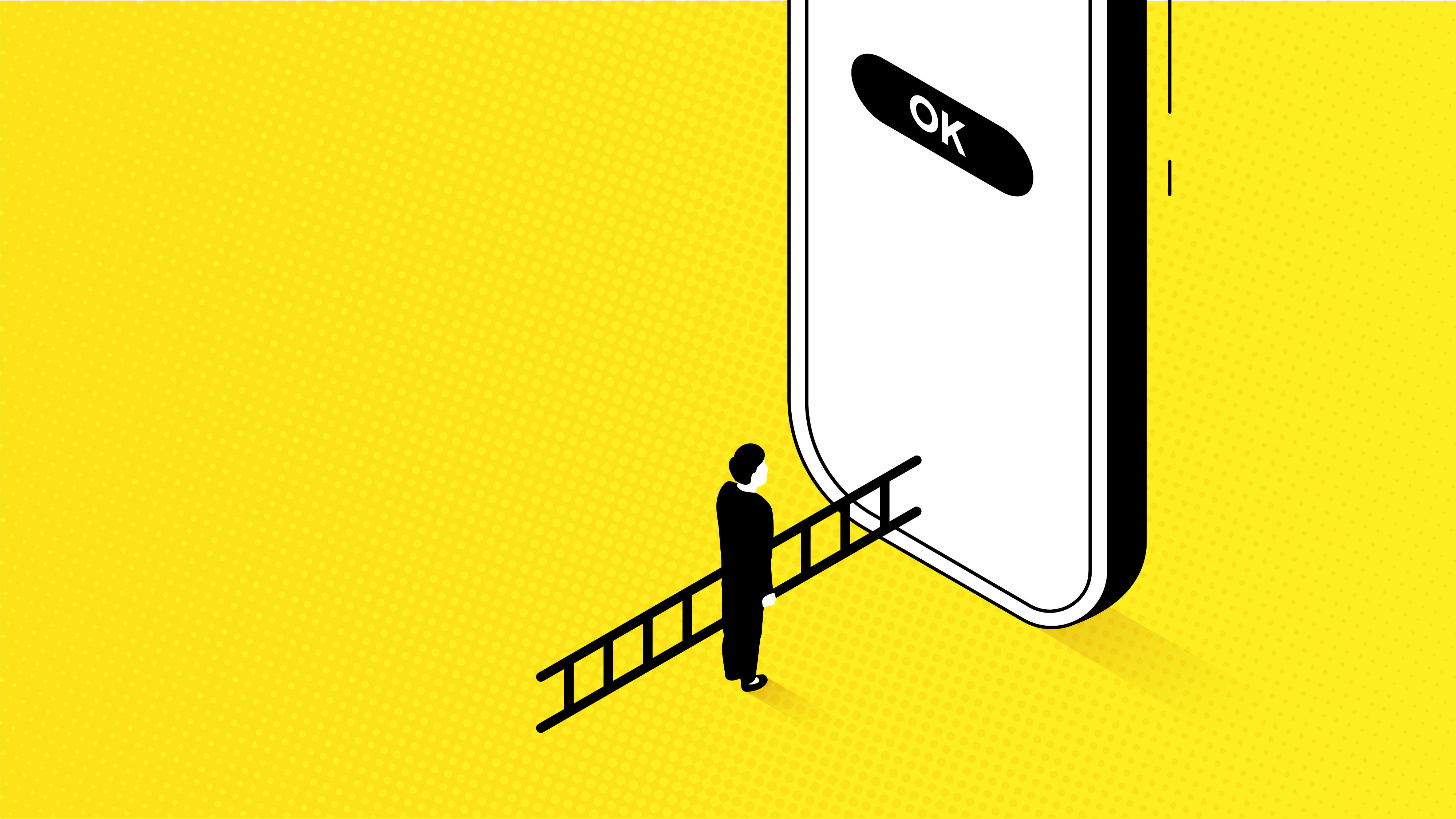 A user using a ladder in order to reach a button on an enormous mobile screen, portraying the difficulties of disability.