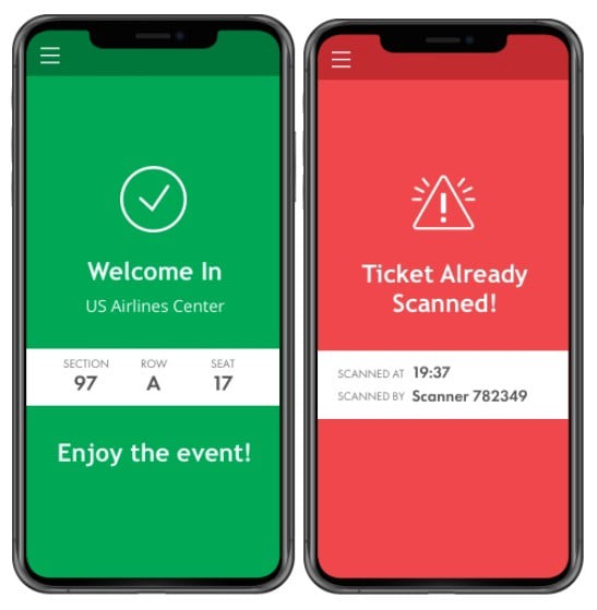 Mobile application screens indicate whether a touchless scan was valid or invalid: a green welcome sign means a valid ticket, while a red screen indicates a ticket was already scanned.