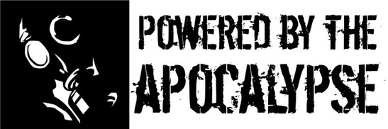 """The left side of the logo features a white-on-black """"headshot"""" illustration  of a person in a gas mask. The rest of the image reads """"Powered by the Apocalypse""""."""