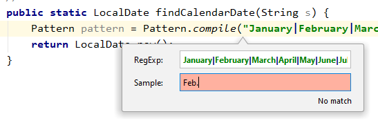 "IntelliJ IDEA Check RegExp frame showing a sample that doesn't match the given regular expression, in this case, ""Feb."" doesn't match against the names of the twelve months of the year written out in full."