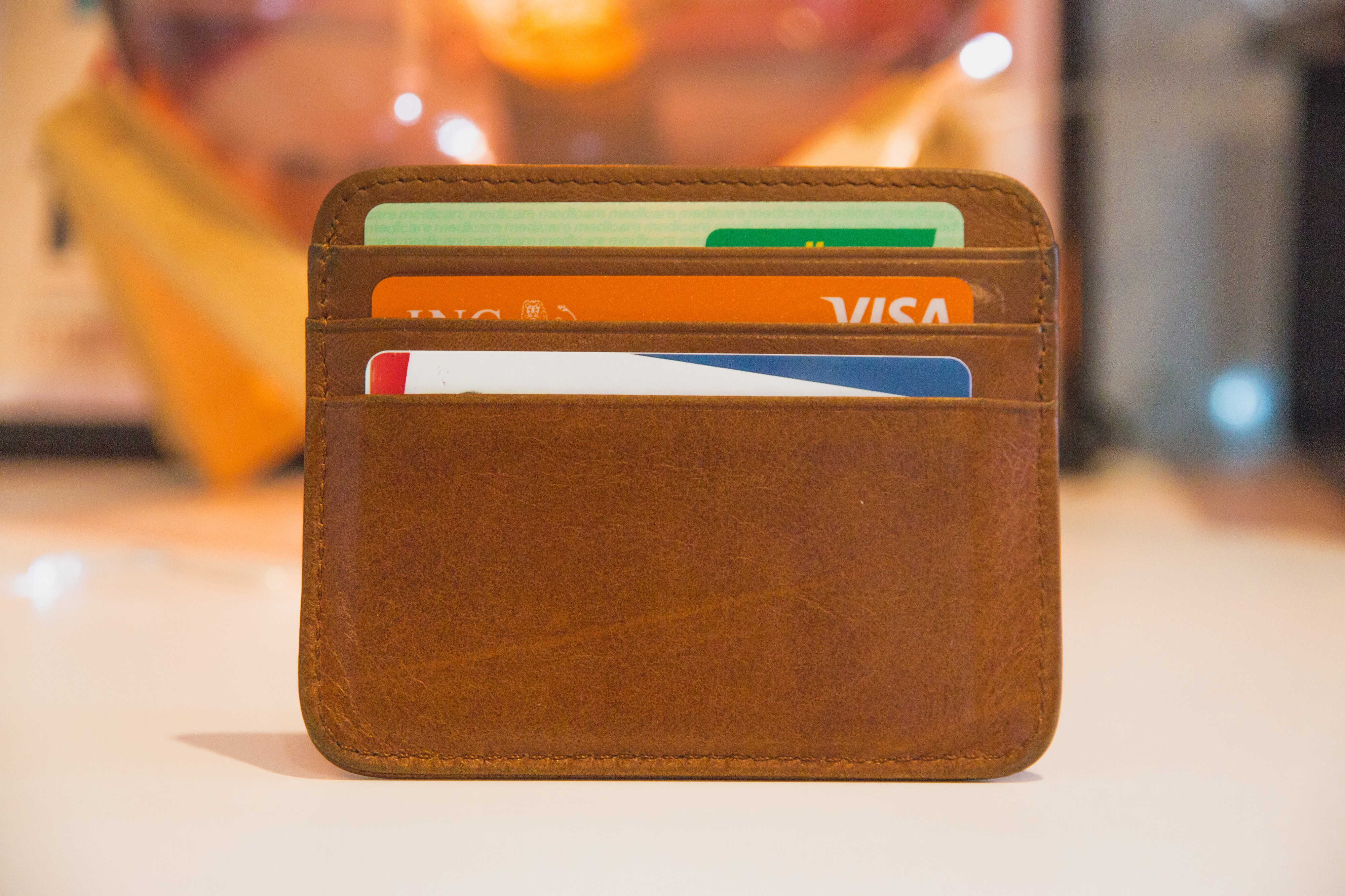 A wallet with cards, possibly credit cards.
