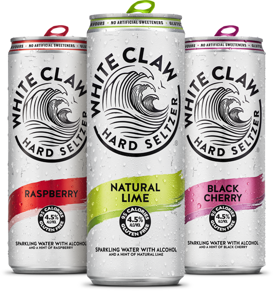 Cans of White Claw hard seltzer.
