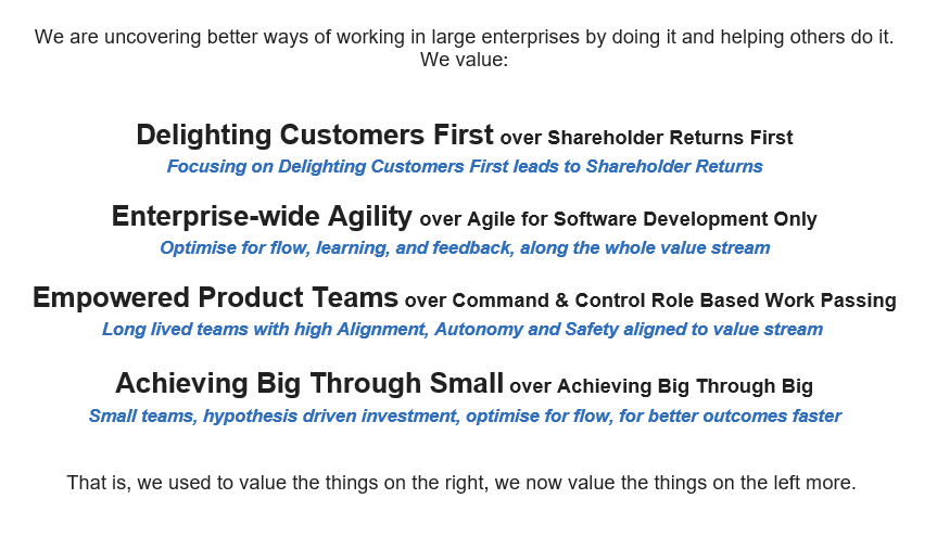 Agile Manifesto Values add on for large enterprises