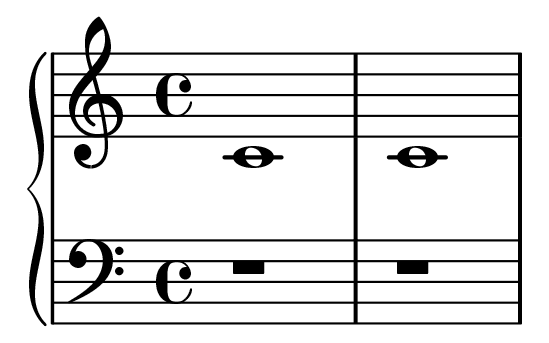 A musical grand staff depicting two whole notes on middle C