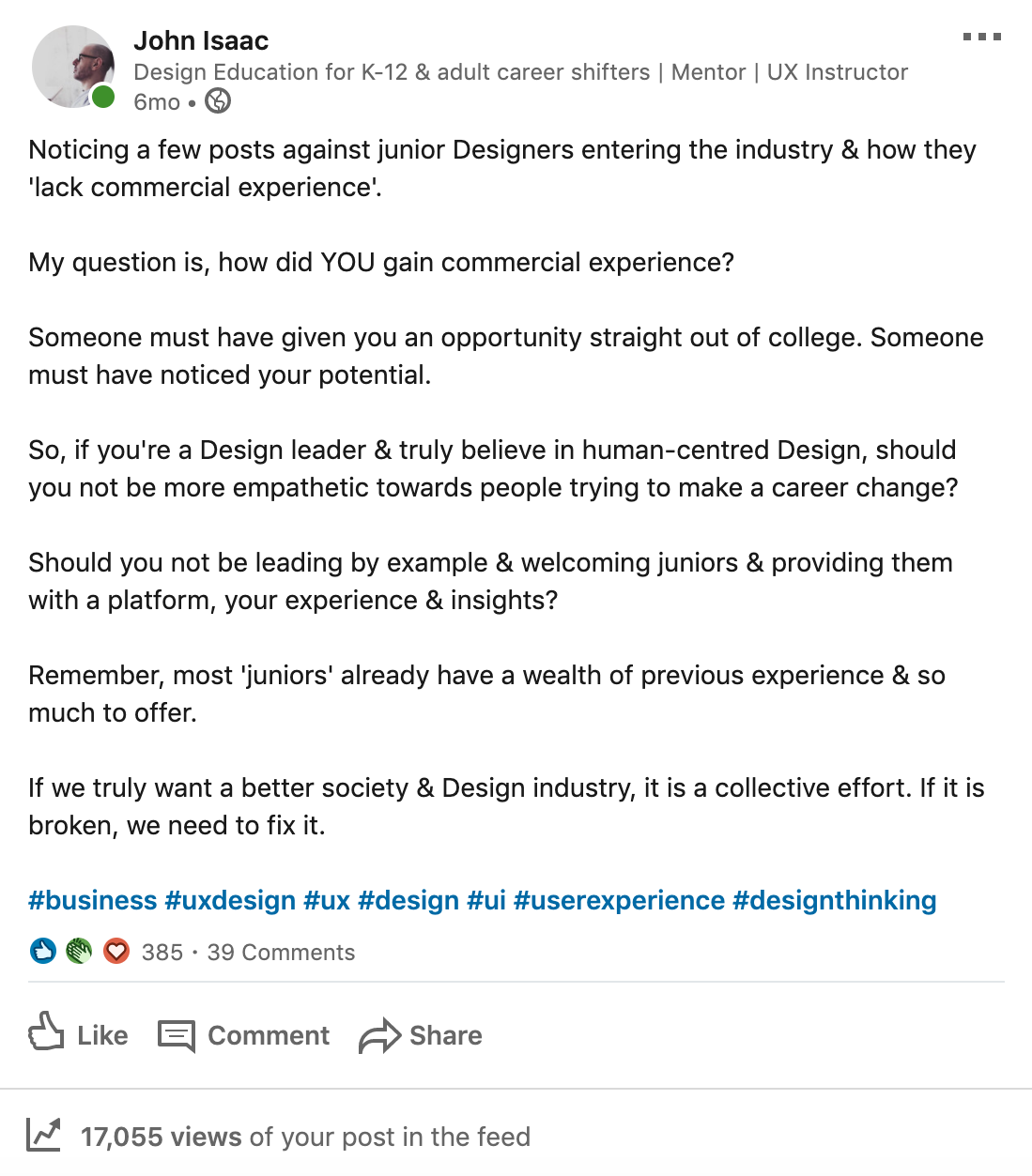 Give Junior Ux Designers A Chance By John Isaac Ux Collective