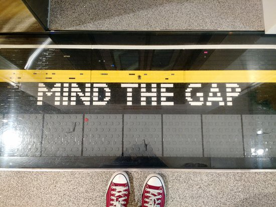 Mind The Gap written in LEGO on the floor