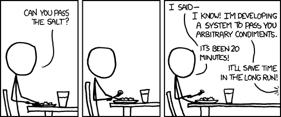 XKCD comic depicting on diner building a system for passing salt and other condiments to the other