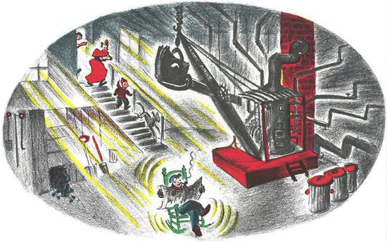 Mike Mulligan and his Steam Shovel reimagined as the furnace for the library and the janitor