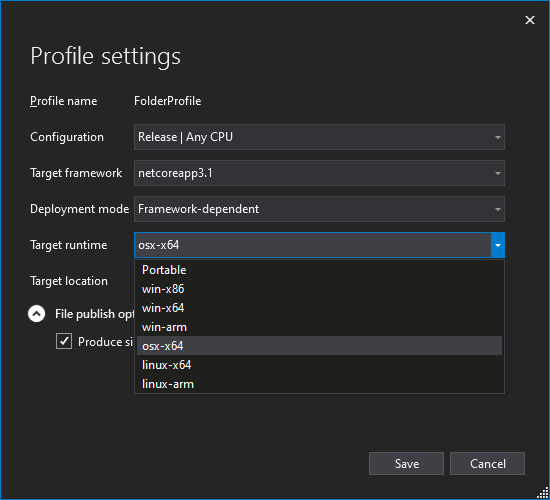 Publish Profile Settings Window