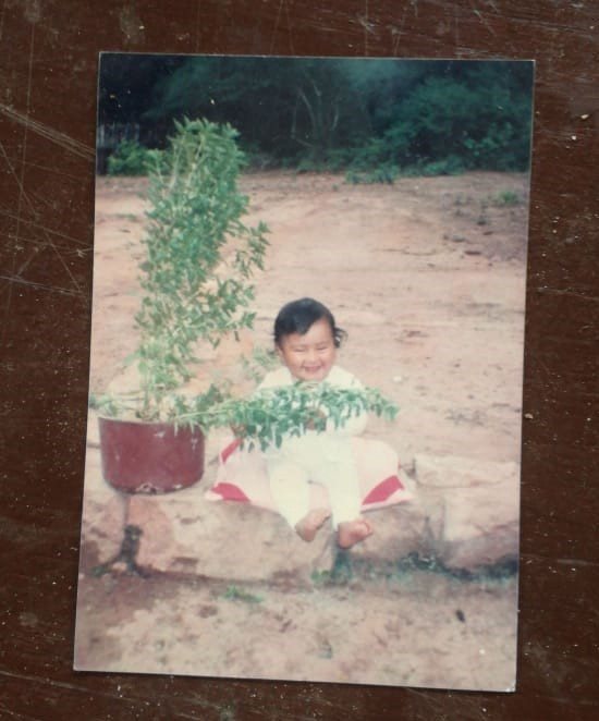 """""""Here I have 8th months and as you can see my joy were the plants"""" Photo: Family Archive"""