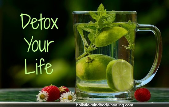 Detoxing Your Negative Mind with a Glass of Water with freshly cut Lemons and Greens