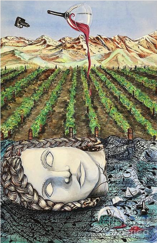 Watercolor, ink, and colored pencil mixed media artwork by Amy Brown of Mastiff Studios. goddess, vineyard, wine