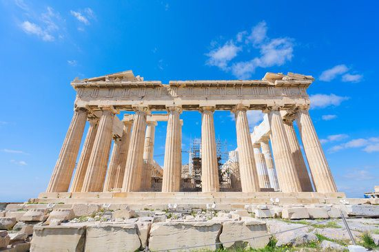 The power parthenon strategy used by Jay Abraham. This is an image of the Parthenon in Greece on a sunny day.