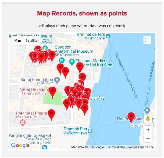 Map data records as points