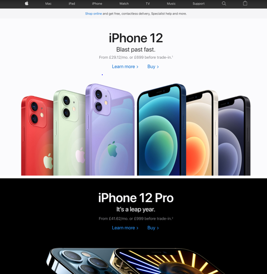Apple homepage with iPhones