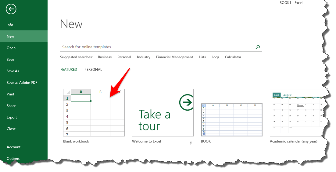 Get started in Microsoft Excel using templates