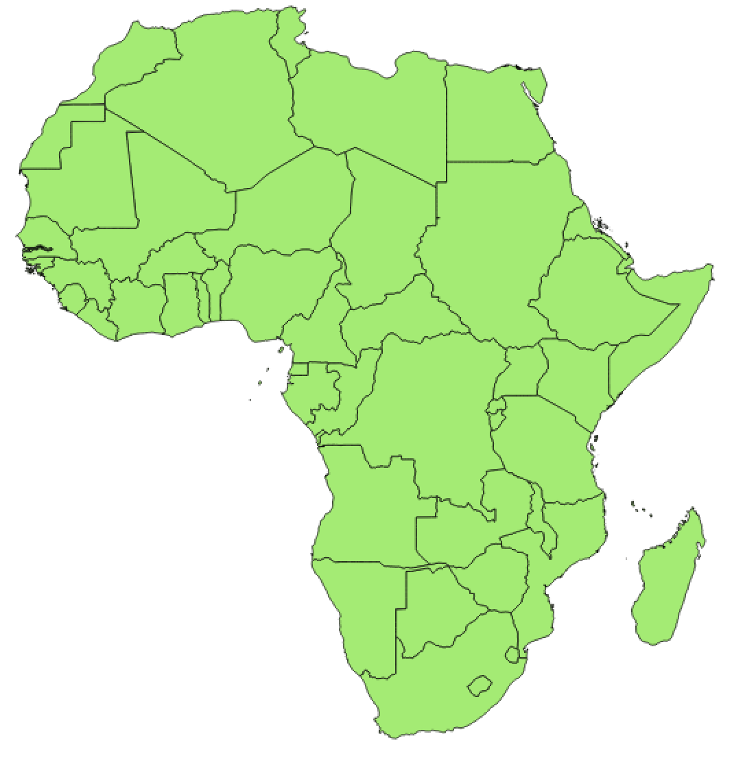 Which African country has the most number of neighbours?