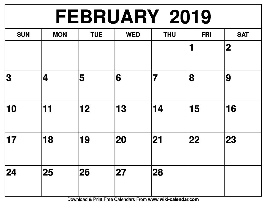 February 2019 Calendar | Templates for Word, Excel and PDF