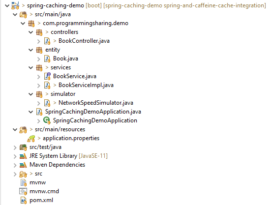 project structure: integat ecaffeine cache to spring boot application