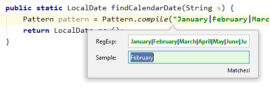 "IntelliJ IDEA Check RegExp frame showing a matching regular expression: ""February"" matches a regular expression for the twelve months of the year."