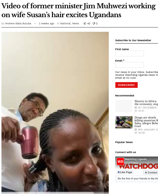 A screenshot from Watchdog.com With story about former minister Jim Muhwezi working on his wife Susan's hair.