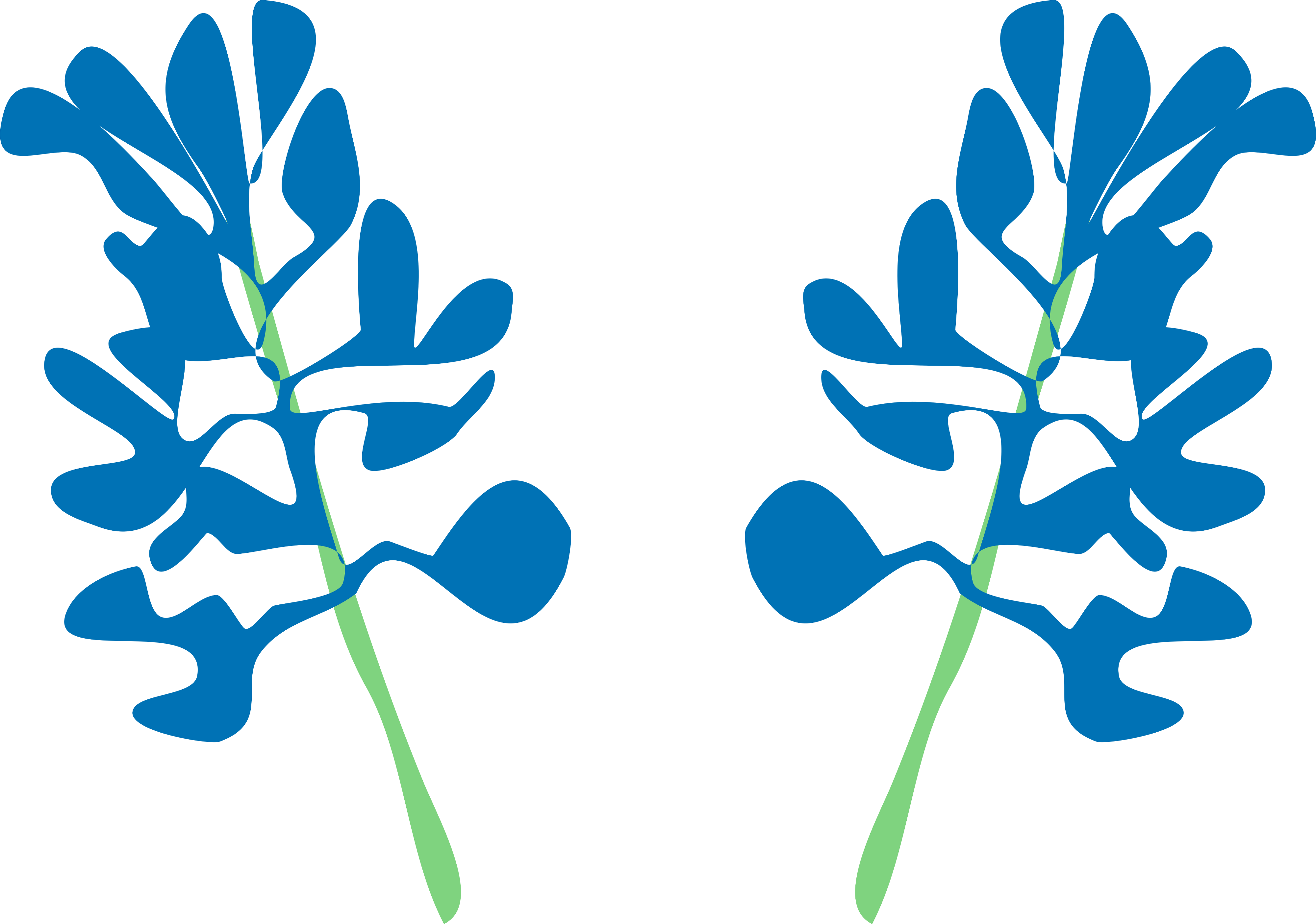 abstract illustration of bluebonnet flowers