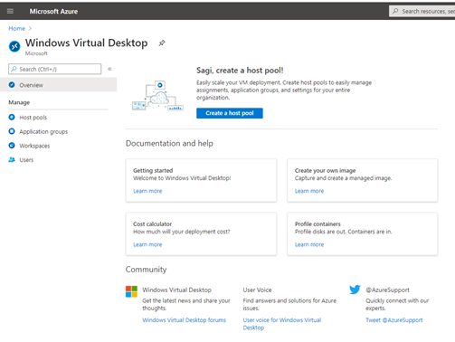 Windows Virtual Desktop blade in the Azure Portal (Picture source: Microsoft)