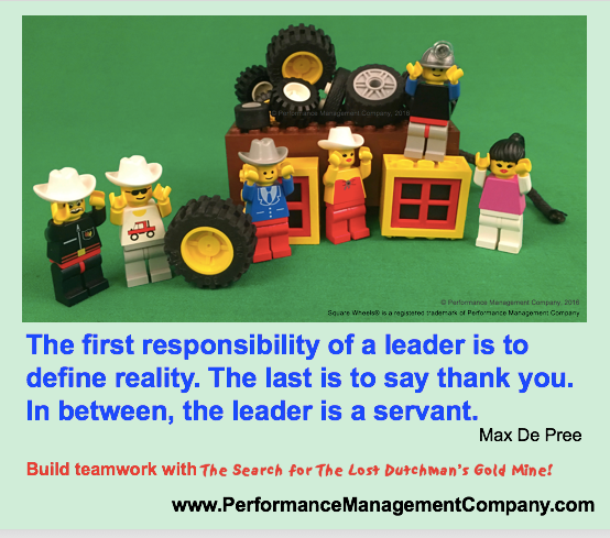 A ax DePree quote using Square Wheels and teambuilding