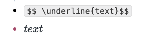 LaTeX code for the underlined text—\underline{text}
