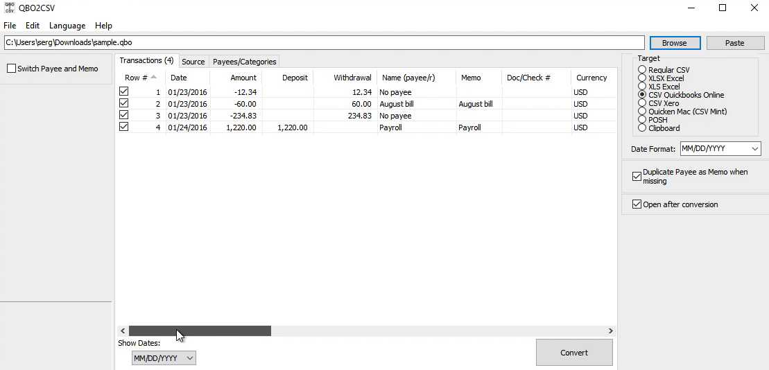 Convert QBO files to CSV or EXCEL format and import into
