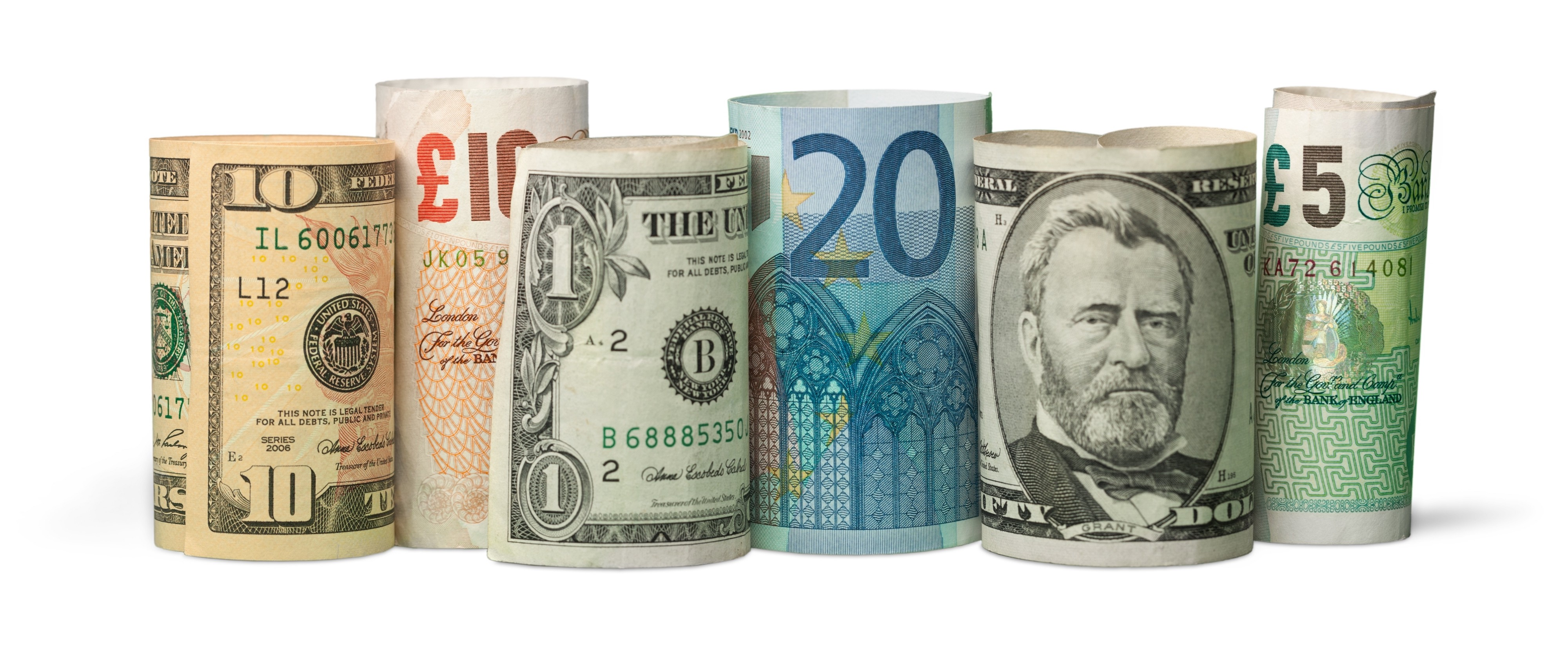 different types of US, UK, and EU paper currency