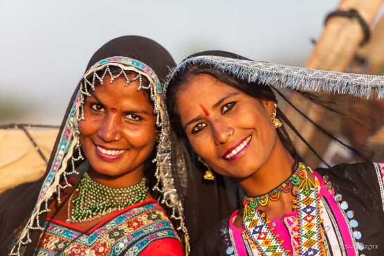 A portrait of two Romani women from India