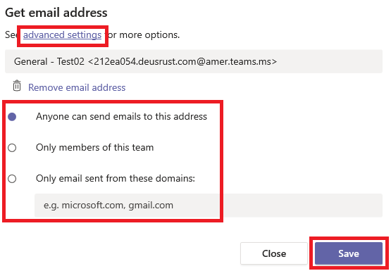Microsoft Teams email address security