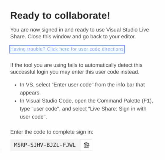 Instructions to enter user code