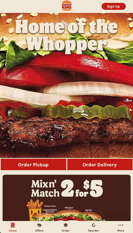 Mobile view of Burger King's new website