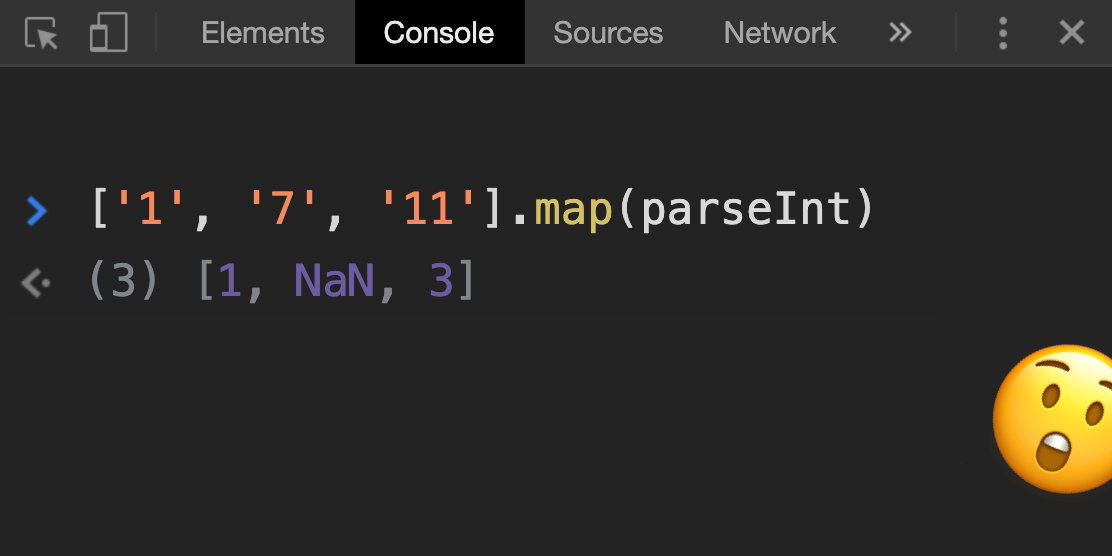 Why ['1', '7', '11'] map(parseInt) returns [1, NaN, 3] in