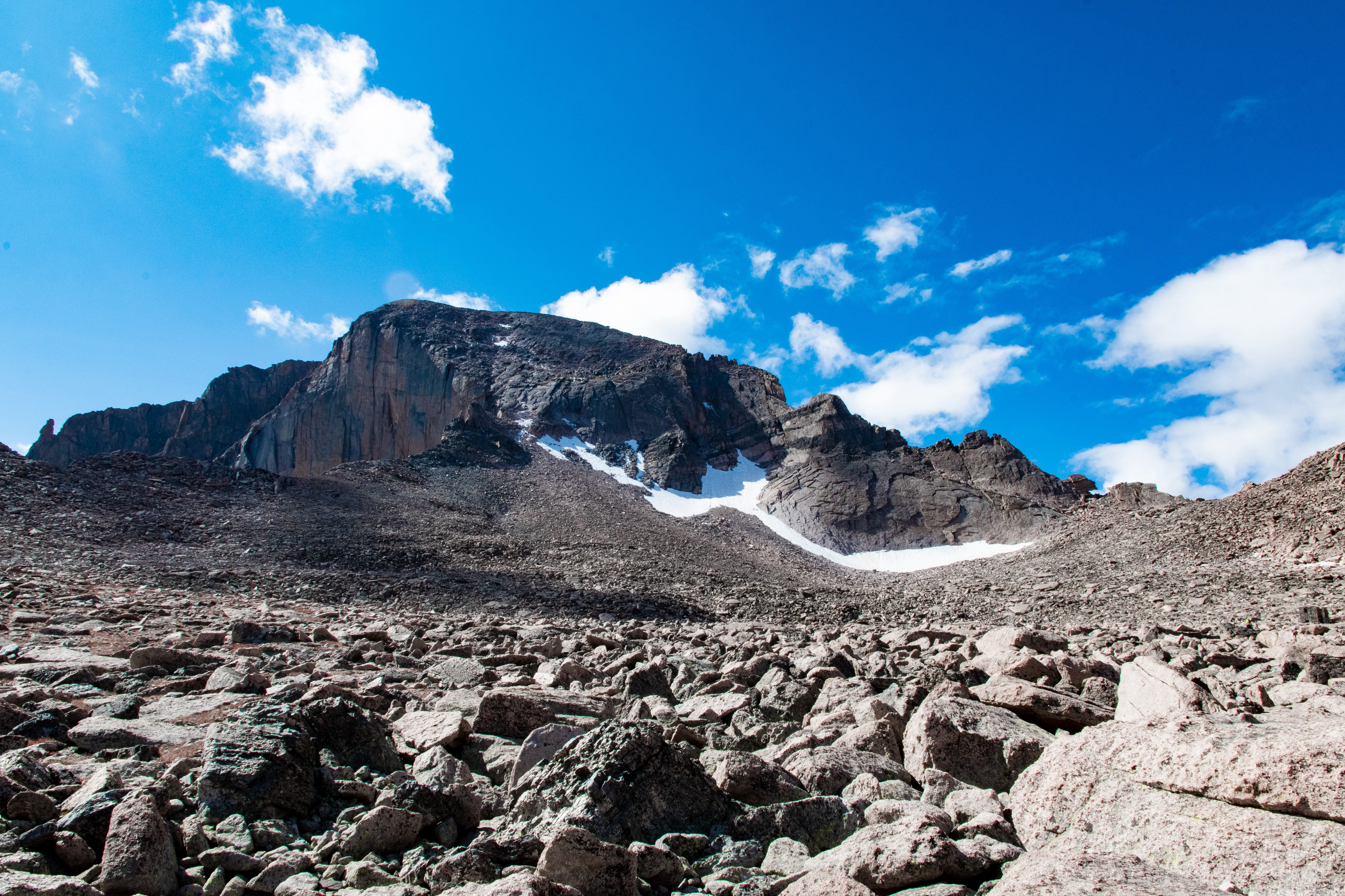 Retreating snow pack on Longs Peak, Rocky Mountain National Park, Colorado. Photo by Christian Yonkers