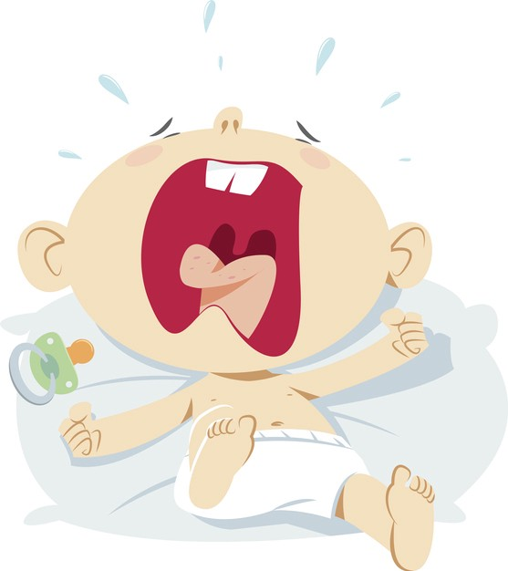Cartoon of an infant screaming at the top of its lungs