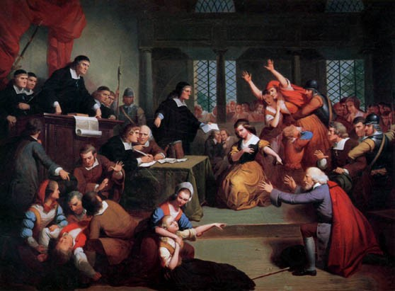 Salem witch trials: pandemonium in a the courtroom as people faint and point and writhe