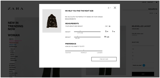 Zara's New Online Shopping Tool for Size Recommendation by Using