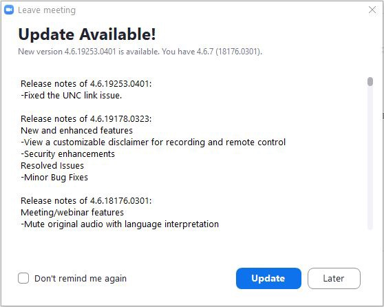 Update Available! A lot of details, and then two buttons: Update (highlighted in blue), and Later