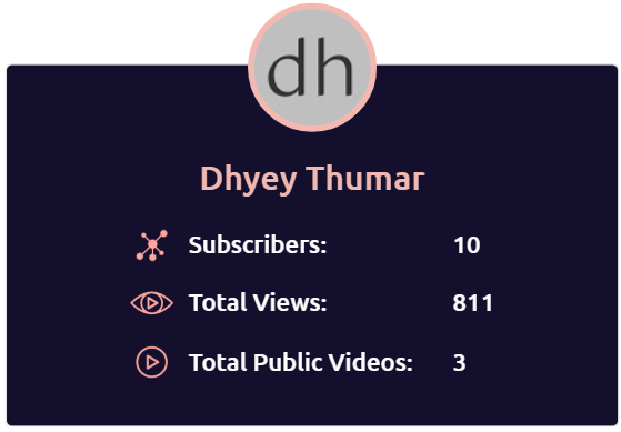 Dhyey's youtube channel stats