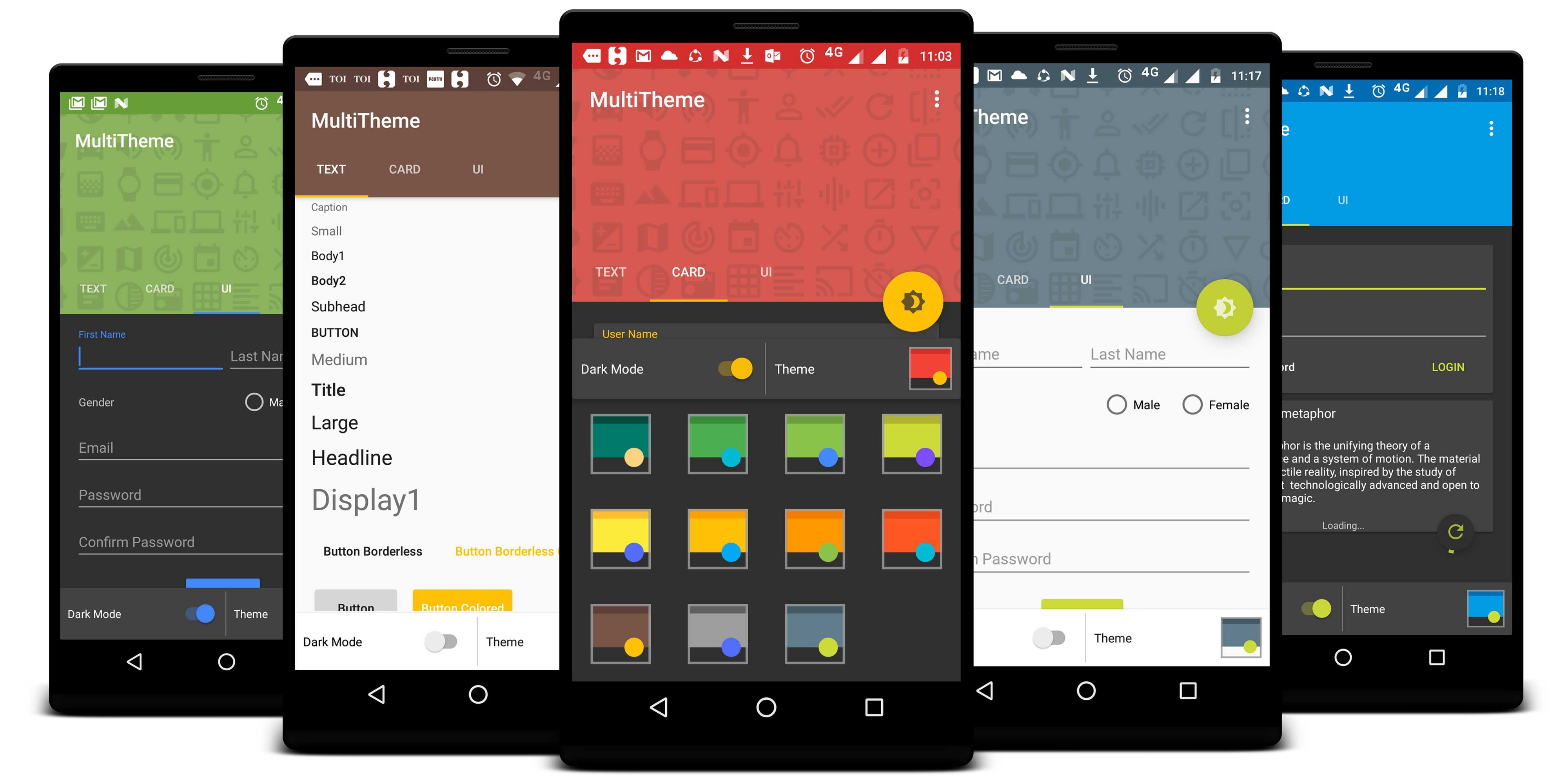 Android Multi Theme, Night Mode and Material Design